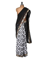 Black And White Floral Printed Saree - Purple Oyster