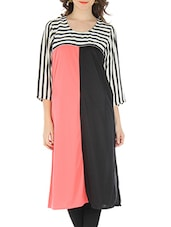 Black And Pink Rayon Viscose Kurti - By