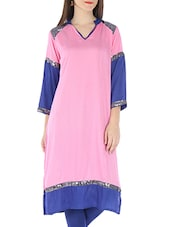 Pink And Blue Rayon Sequined Kurti - By
