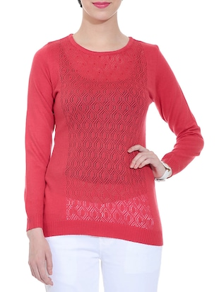 rose pink woolen pullover with inner