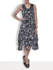 Monochromatic Printed Ruffled Viscose Dress - By