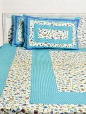 Blue Floral Print Double Bed Sheet Set - Silkworm