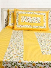 Yellow Floral Print Double Bed Sheet Set - Silkworm