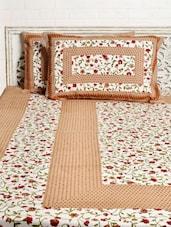 Brown Floral Print Double Bed Sheet Set - Silkworm