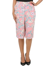 Pink Rayon Floral Printed Culotte Pant - By