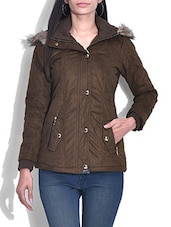 Brown Hooded Suede Quilted Jacket - By