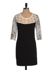 Black Printed Sleeve Dress - Ozel Studio
