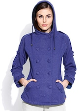 Royal Blue Hooded Acrylic Sweatshirt - By