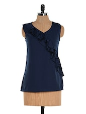 Solid Navy Blue Ruffled Top - M Expose