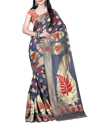 Grey Handloom Silk saree with blouse piece