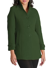 Green Woolen Felt  Long Coat - By