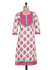 White Printed Quarter Sleeved Cotton Kurta - By - 9600259