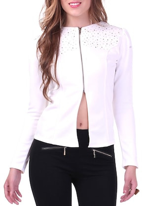 White Embellished Half-Zipped Jacket