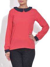 Red Peter Pan Collar Top - By