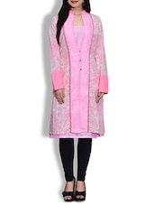 Pink And White Cotton Printed Kurta - By