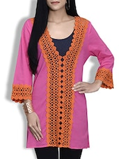 Pink And Orange Cotton Lace Kurta - By