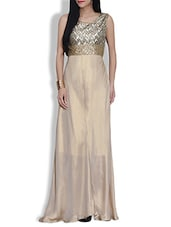 Beige And Gold Georgette Maxi Dress - By