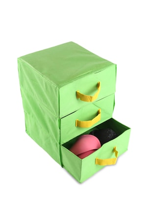 Green Non-Woven 3 Compartment Drawer