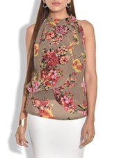brown floral printed  georgette and crepe layered top -  online shopping for Tops