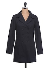 Solid Black Full-sleeved Coat - By