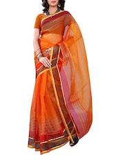 Orange Tissue Printed Saree - By