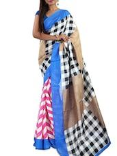 Blue & Black Bhagalpuri Silk Printed Saree - By