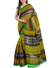 Green & Yellow Bhagalpuri Silk Printed Saree - By