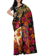 Black & Pink Faux Georgette  Printed Saree - By