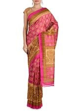 Pink And Beige Art Silk Saree - By