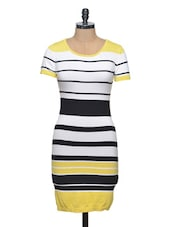 Short Sleeves Striped Flat Knit Dress - Thegudlook