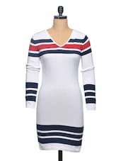 White-Blue Striped Flat Knit Dress - Thegudlook