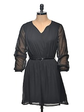 Black Polyester Dress With Belt - Thegudlook