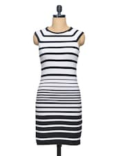 Monochrome Striped Knit Dress - Thegudlook