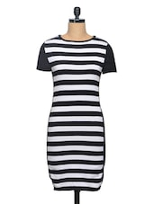 Black-White Striped Flat Knit Dress - Thegudlook