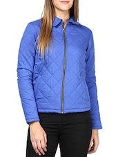 Royal Blue Collared Full-sleeved Jacket - By
