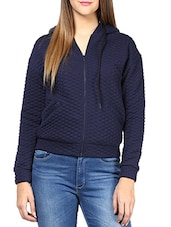 Navy Blue Cotton Quilted Knit Jacket - By