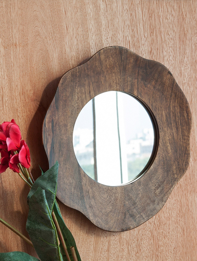 Multicolored Mango Wood And Glass Wall Mirror - By - 9605155