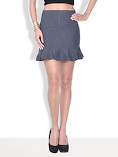 Solid Grey Cotton Fleece Mini Skirt - By