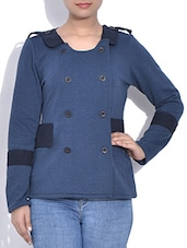Stone Blue Full Sleeved Cotton Knit Jacket - By