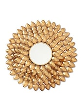 Antique Gold Iron Flower Wall Mirror - By