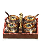 Brown Printed Tribal Design Tray Set With 4 Containers - By