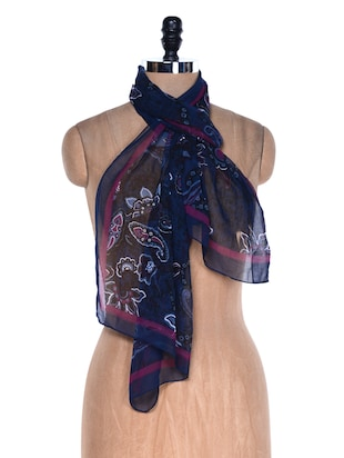 Stylish Printed Dark Blue Scarf -  online shopping for Scarves
