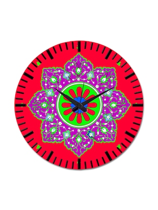 Red Printed Abstract Wall Clock