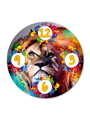 Multicolored Printed Lion Wall Clock