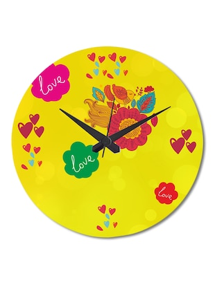 Multicolored Printed Love Flowers Wall Clock