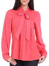 Coral Tie-Up Pin Tuck Blouse - Ridress