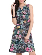 Tropical Print Cut Out Dress - Ridress