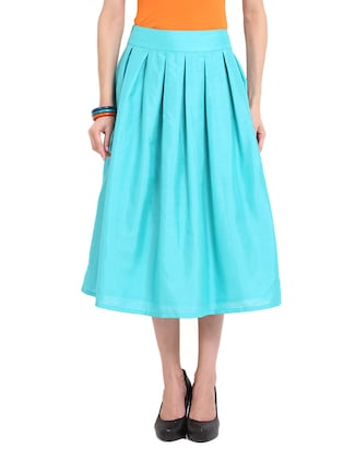 Turquoise Flare Midi Tea Silk Skirt
