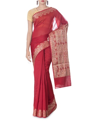 Red Color Art Silk Woven  Saree