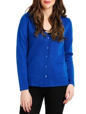 Royal Blue Full-sleeved Cardigan - By